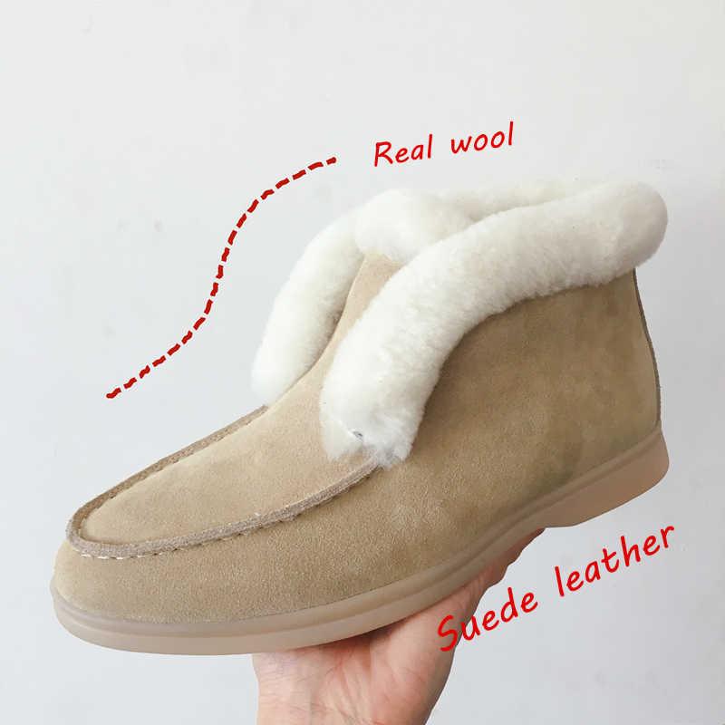 קרסול מגפי פרה-זמש-עור מגפי טבעי-פרווה חם חורף מגפיים להחליק על מגפי שלג נשים