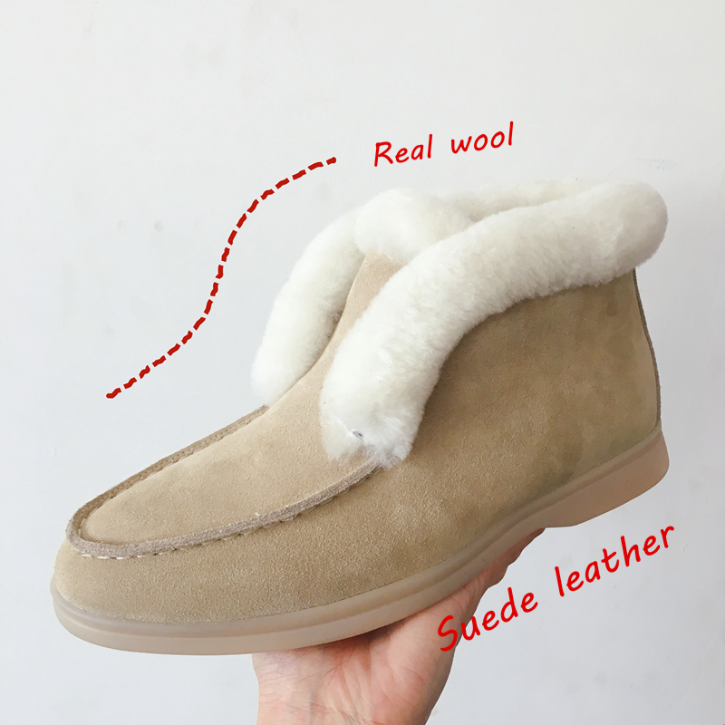 Ankle boots cow suede leather boots natural fur Warm winter boots Slip on snow boots for women