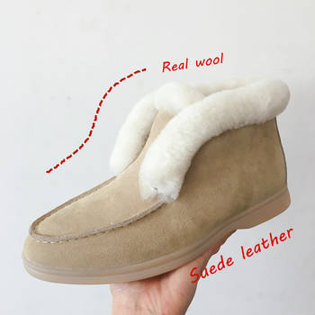 Ankle boots cow-suede-leather boots natural-fur Warm winter boots Slip-on snow boots for women