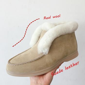 Botki krowy zamszowe buty z naturalnego futra ciepłe buty zimowe Slip-on buty śnieżne dla kobiet tanie i dobre opinie Smile Circle CN (pochodzenie) Krowa Zamszu ANKLE Szycia Mieszane kolory E8068 Dla dorosłych Mieszkanie z Podstawowe Naturalne futro