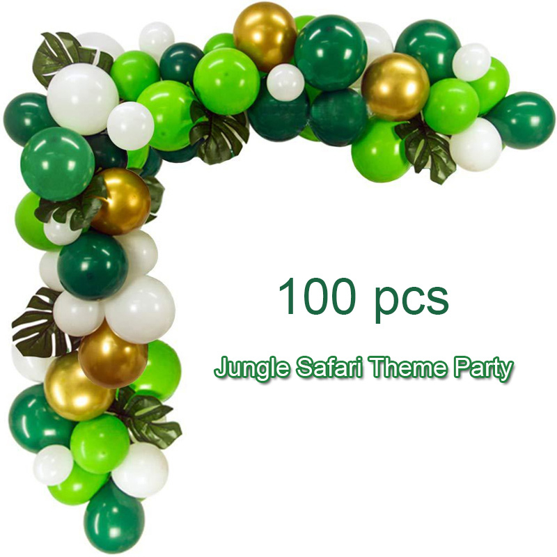 100pcs Jungle Safari Theme Children Birthday Party Balloons Set Green White Latex Ballon Arch Garland Kit Baby Shower Decoration