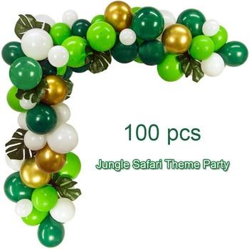 100pcs Jungle Safari Theme Children Birthday Party Balloons Set Green White Latex Ballon Arch Garland Kit Baby Shower Decoration