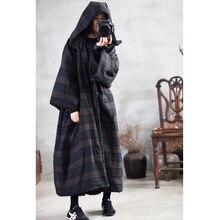 Winter Women Parkas Warm Hooded Striped 2019 Thick Loose Cotton Padded Vintage Pockets Women Long Coat YoYiKamomo