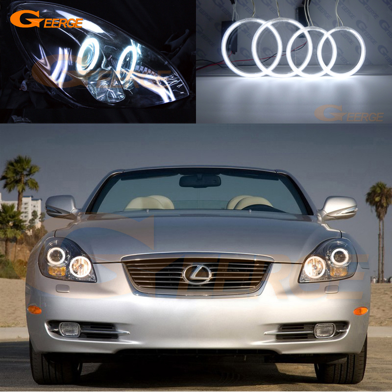For <font><b>lexus</b></font> SC 430 SC430 2005 2006 2007 2008 <font><b>2009</b></font> 2010 Excellent CCFL Angel Eyes kit halo rings Ultra bright illumination image