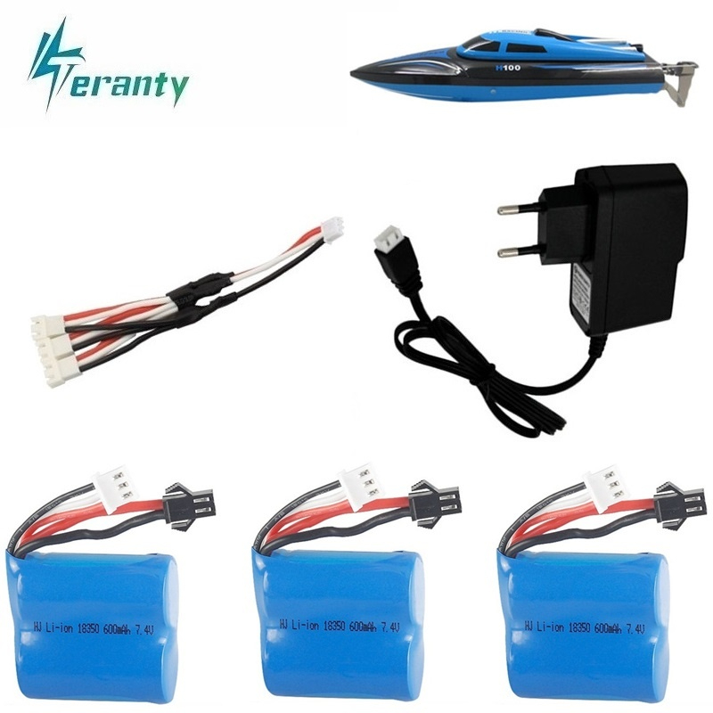 Teranty <font><b>7.4v</b></font> <font><b>600mAh</b></font> 18350 <font><b>battery</b></font> Charger Sets for H100 H102 <font><b>7.4v</b></font> Li-ion <font><b>Battery</b></font> for JJRC S1 S2 S3 S4 S5 High Speed RC boat image