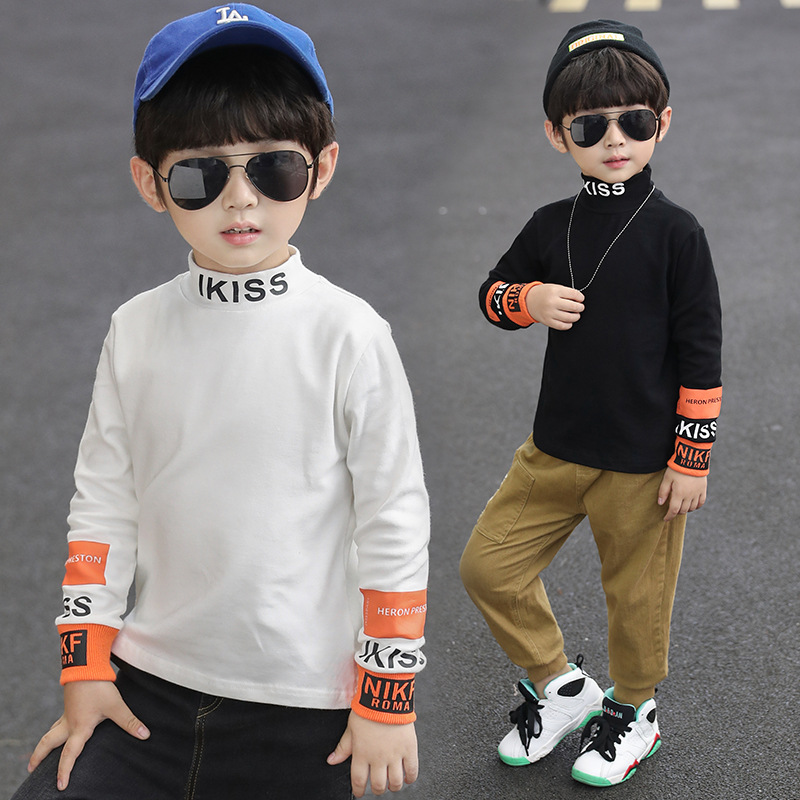BOY'S T-shirt 2019 Autumn Clothing New Style Big Boy Half-Turtle-Neck Base Shirt Western Style Baby Plus Velvet Versatile Tops W