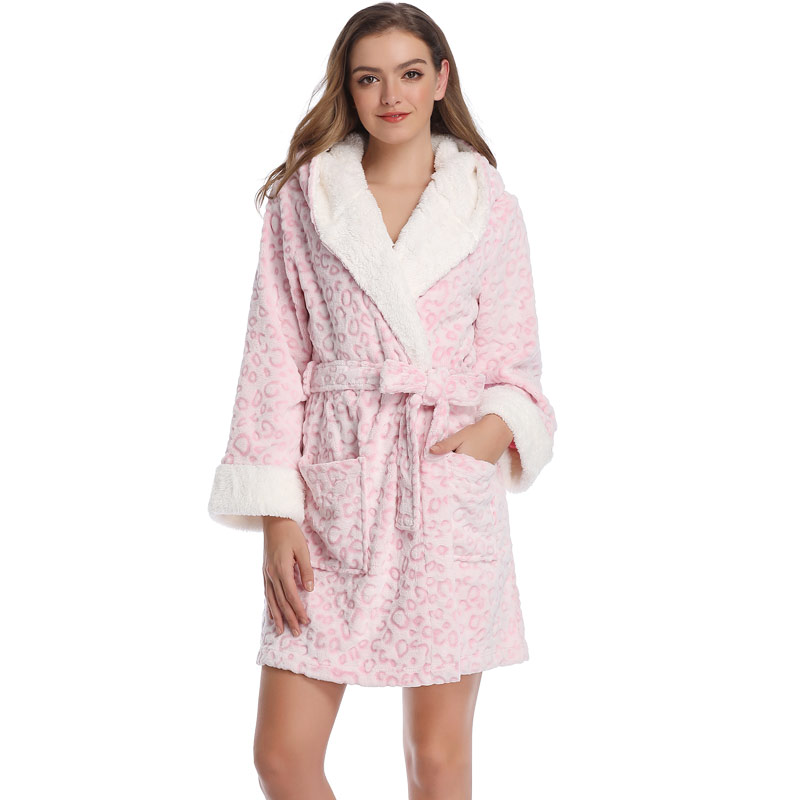 Women Spring Warm Dressing Gowns Leopard Teddy Fleece Female Bathrobes Hooded Sleepwear Pink Dressing Gowns Robes For Women