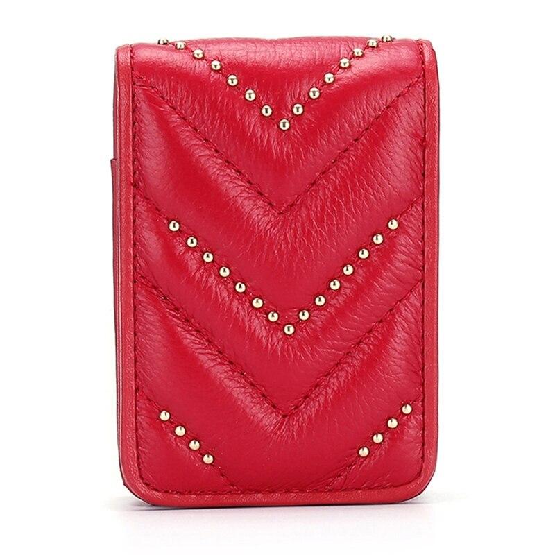 Lipsticks Wallet Genuine Leather Wallet Female Makeup Mirror Lipstick Case Designer Cosmetic Organizer Pouch Fashion