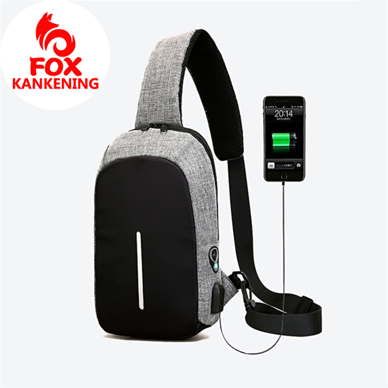 KANKENING Multi-function USB Security Chest Bag Men Waterproof Men Money Phone Pouch Bag Female Shoulder Bag Male Chest image