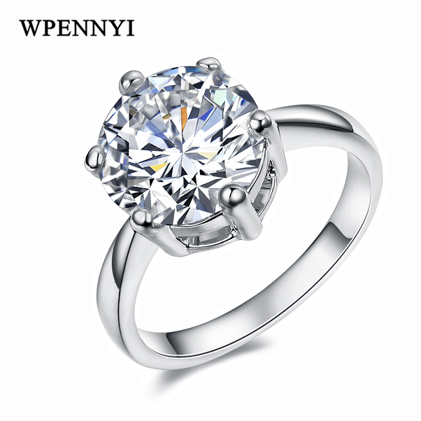 Top Quality Super 3.5ct Engagement Rings Silver Color 10mm Sparkling Clear Cubic Zirconia Crystal Woman Wedding Ring Wholesale title=