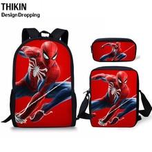THIKIN 3pcs School Bag Set 3D Spiderman Schoolbag for Teenager Boys Girls Preschool Suppilers Kids Toddler Backpack Women