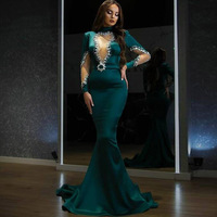 Eightale Arabic Evening Dresses Mermaid High Neck Beaded with Rhinestones Green Prom Gown Long Sleeves Formal Party Dress 2021
