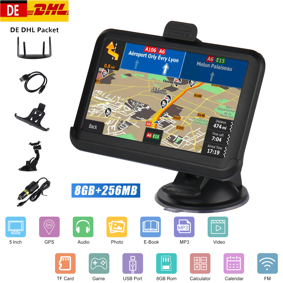 5 inch Car GPS Navigation 256/8GB FM Transmitter MP3/MP4 Audio Video Players Hi-Fi Speaker Support /EU/North America/AU Maps