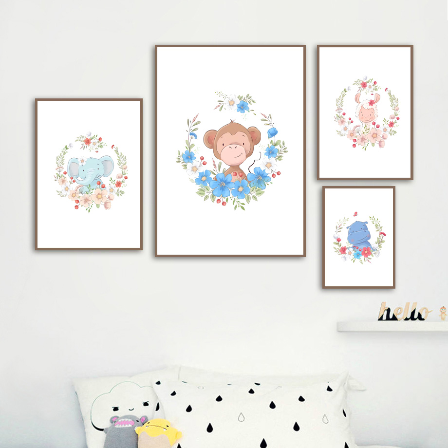 Elephant Giraffe Zebra Hippo Lion Panda Wall Art Print Canvas Painting Nordic Posters And Prints Wall Pictures Baby Kids Room in Painting Calligraphy from Home Garden