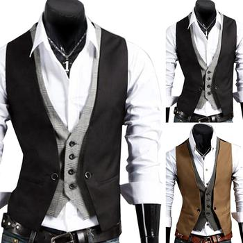 Men Fake Two-pieces V Neck Sleeveless Button Pocket Slim Fits Waistcoat Jacket Solid color slim design, simple yet stylish