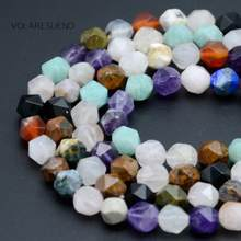 Natural Faceted Mixed Lapis Lazuli Amethysts Stone Quartz Round Beads For Jewelry Making 6-10mm Spacer Beads Fit Diy Bracelets(China)