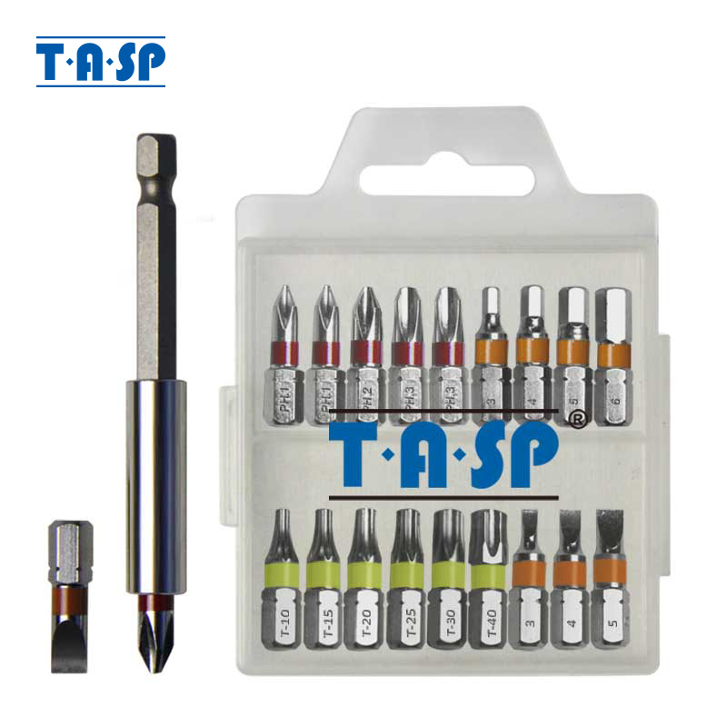 TASP 20db-os színes kódolású csavarhúzó bitkészlet-fej PH Torx lapos hexagfejű mágneses tartóval és tárolódobozban - MSWB2025