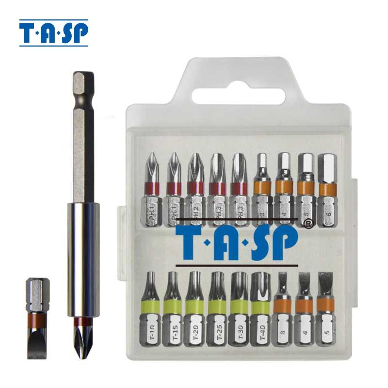 TASP 20ks barevně kódovaný šroubovák bit sada hlava PH Torx plochá šestihranná hlava s magnetickým držákem a úložný box - MSWB2025