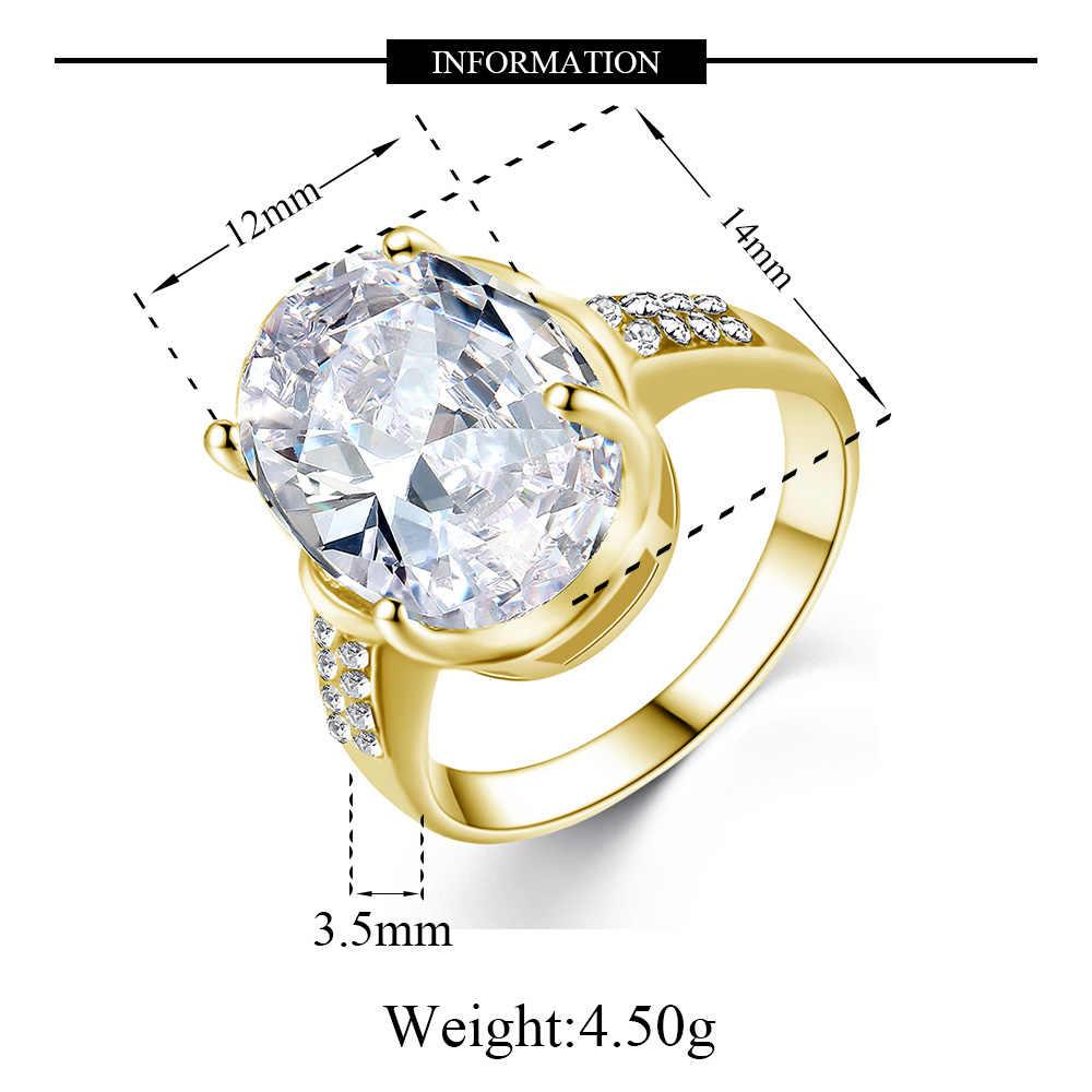 Ovale Principessa Cubic Zirconia Anello di Fidanzamento Anello di Cerimonia Nuziale di Modo di Colore Splendida Qualità Delle Signore del Partito Dei Monili Anello
