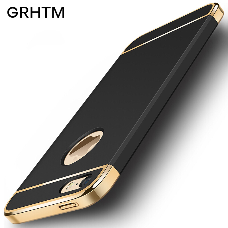 Luxury 360 Plating Phone Case For iphone 6 6s 7 8 Plus 5 5s se Case PC Matte Hard Cover For iphone 7 Plus Protection Case Coque
