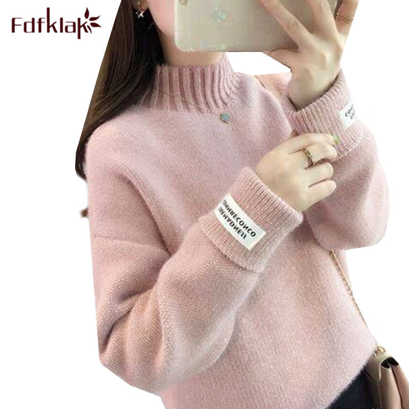 Fdfklak Knite Wool Sweater Women Autumn Winter Thick Warm Sweaters Pullover Turtleneck Top Female Loose Sweaters Pull Femme
