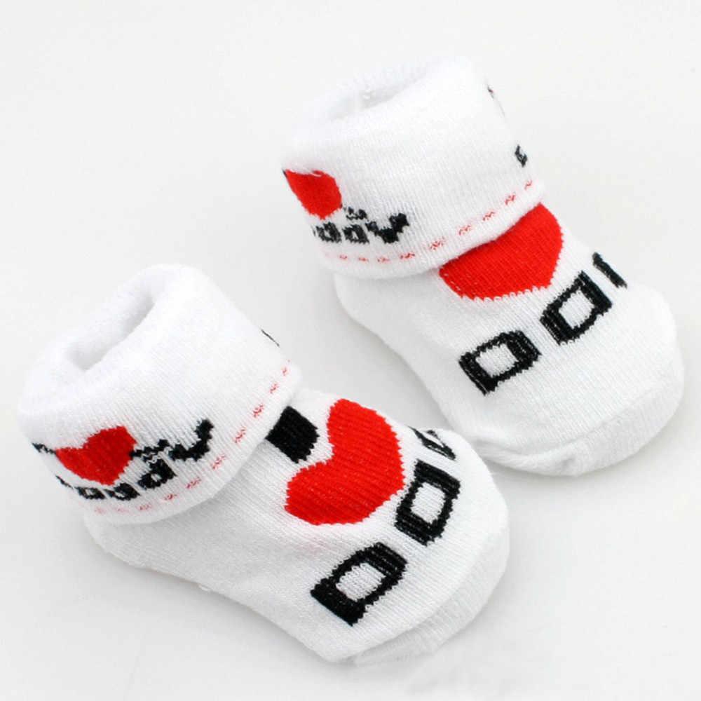 ベビー幼児の少年少女スリップにくい床靴下愛パパママ手紙靴下秋ため女の子コットンソフト靴下