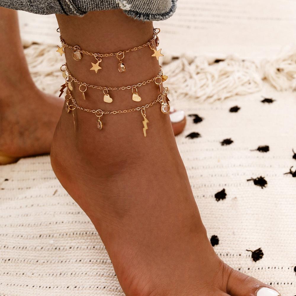 Boho Lightning Heart Ankets For Women Zircon Crystal Tassel Ankle Bracelet Tobillera Beach Foot Bracelets Jewelry