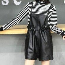 Leather Brand Genuine Casual Black Shorts Women Sheepskin College Wide Leg Shorts Autumn Winter High Waist Short Overalls