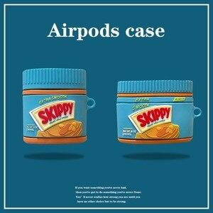 Image 1 - Para airpods pro coque bonito 3d manteiga de amendoim garrafa silicone caso fone de ouvido para apple airpods 1 2 suporte fone de ouvido capa com gancho