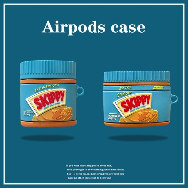 Para airpods pro coque bonito 3d manteiga de amendoim garrafa silicone caso fone de ouvido para apple airpods 1 2 suporte fone de ouvido capa com gancho