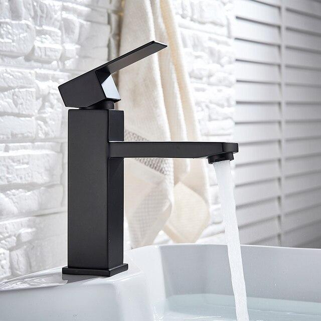 XUNSHINI Black Square  Bathroom Sink Faucet Single Handle Basin Faucet Wash Tap Bathroom Toilet Deck Mounted Basin Tap 3