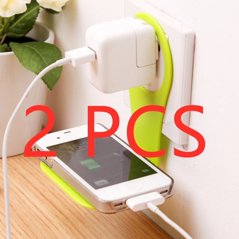 2Pcs Removable Wall-mounted Phone Holder Mobile Phone Charging Storage Holder Racks Cell Phone Hook Charge Hanging Stand Bracket