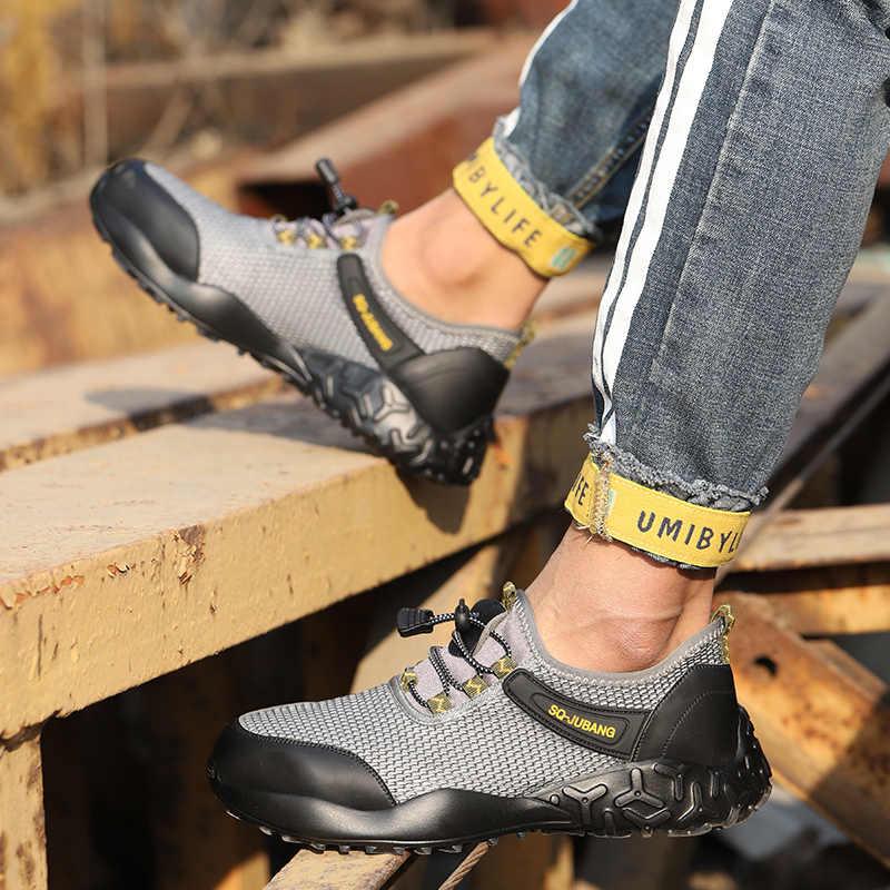 Zapatos de seguridad SUADEEX para hombre, Sheos de seguridad para el trabajo para mujer, zapatillas transpirables con punta de acero, botas de seguridad para trabajos de construcción a prueba de pinchazos