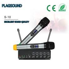 S 10 ücretsiz kargo UHF Bluetooth kablosuz mikrofon sistemi Mini taşınabilir alıcı ev sineması için ses DVD Hi Fi sistemleri