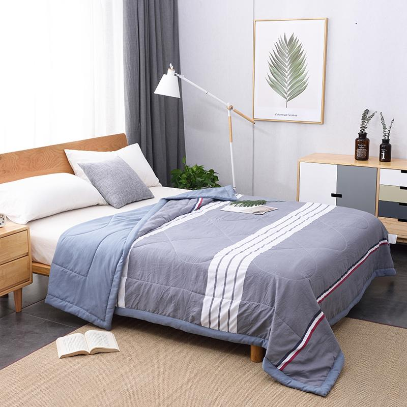 30 Summer Washed Cotton Air-conditioning Quilt Soft Breathable Blanket Thin Stripe Plaid Comforter Bed Cover