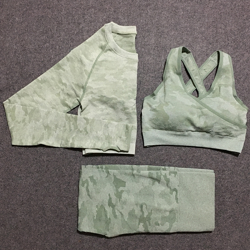 3 Pcs Camo Seamless Set Women Gym Sets Athletic Clothes Sport Wear Yoga Set Women Fitness Clothing Sport Leggings And Top Set