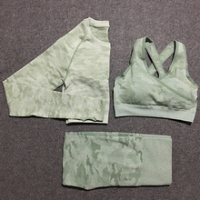 3 pcs camo seamless set women gym sets athletic clothes sport wear yoga fitness clothing leggings and top