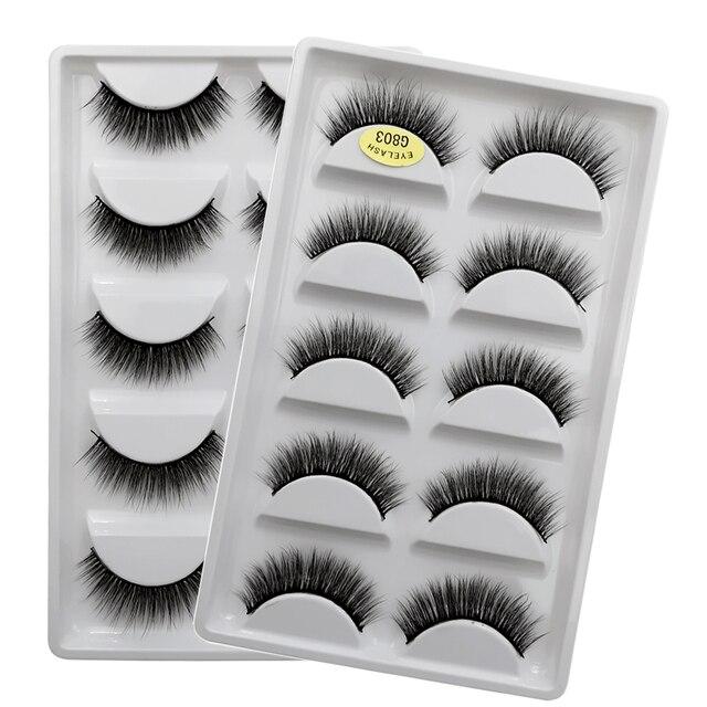 SHIDISHANGPIN 5 pairs eyelashes 3d mink lashes natural long 1 box mink eyelashes 1cm-1.5cm 3d false eyelashes full strip lashes 1