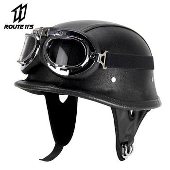 цена на Motorcycle Helmet Leather Helmet For Motorcycle BLACK Motorcycle Open Face Half Helmet Retro Moto Helmet Summer Casco Moto DOT