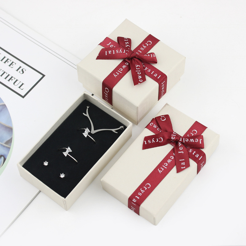 6*6 5*8 Cute Red Blue Bow Bowknot Paper Gift Box Jewelry Case for Necklace Ring Bracelet Fashion Wholesale