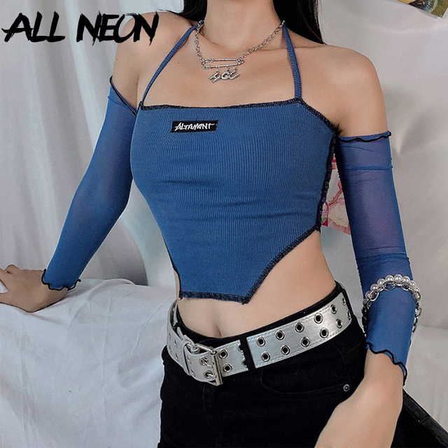 ALLNeon Y2K Fashion Ribbed Anomalistic Hem Cropped Tops  with Mesh Sleeve E-girl Backless Lace Up Halter Tanks Streetwear 90s 2