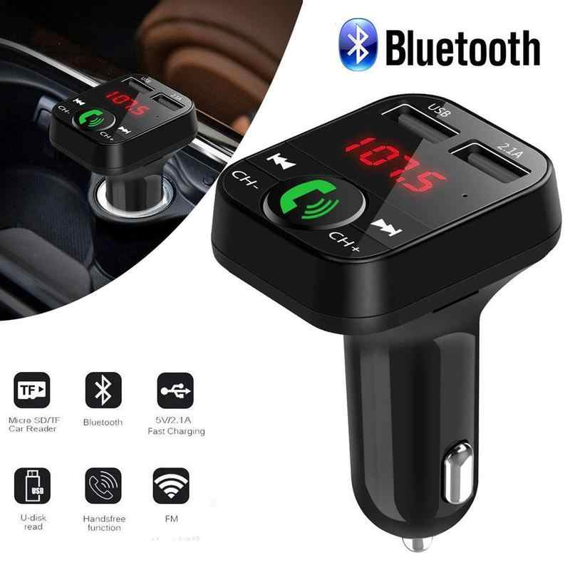 Mobil Kit Handsfree Wireless Bluetooth FM Transmitter LCD MP3 Player USB Charger 2.1A Aksesoris Mobil Handsfree Auto FM Modulator