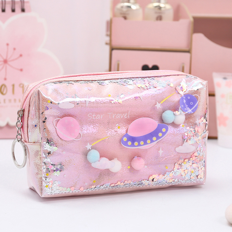 Large Marble Pencil Case Laser Leather Pen Box Big Makeup Bag For Girls Gift PU Office School Travel Supplies Chancery Penalty