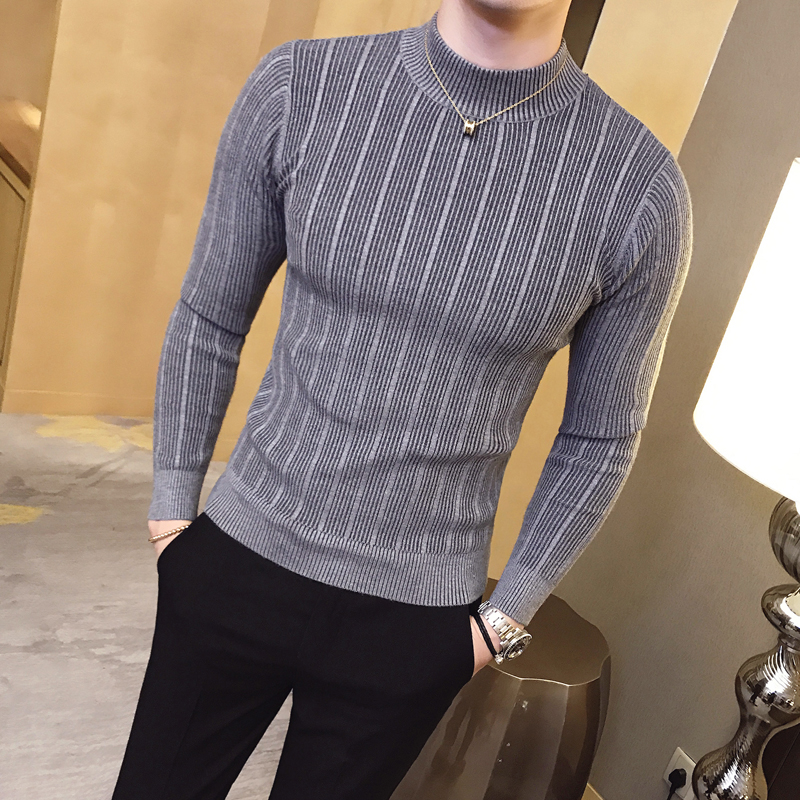 New Autumn And Winter Fashion Solid Color Striped Boutique Knit Mens Casual Turtleneck Sweater Cotton Tight-fitting Male Sweater