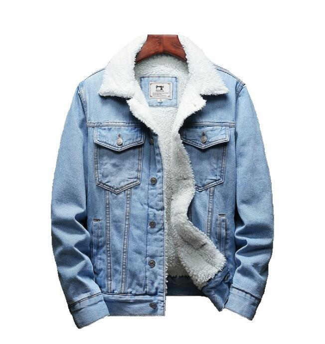 Men Light Blue Winter Jean Jackets Outerwear Warm Denim Coats New Men Large Size Wool Liner Thicker Winter Denim Jackets