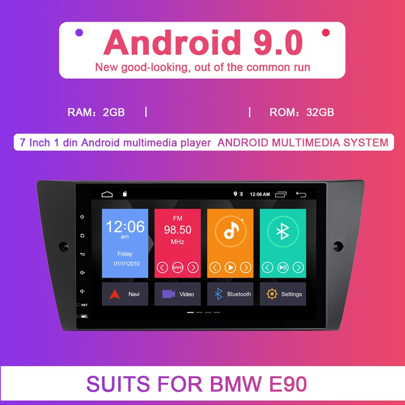 2G RAM 1 Din Android 9.0 Car Multimedia DVD Player for BMW E90/E91/E92/E93 Navigation Radio 3 Series GPSAudio 2+32GB IPS image