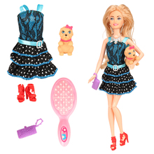 Newest cute fashion 6 Items/set= doll +dress+dog toy+comb+handbag+shoes doll accessories for barbie doll best birthday DIY gift