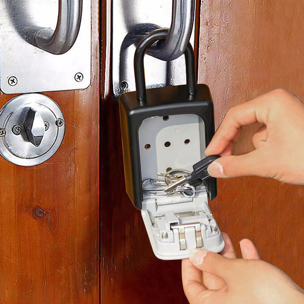 4-Digit Combination Lock Key Safe Storage Box Padlock Security Home Outdoor Supplies QJY99