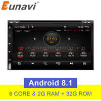 Eunavi Octa Core 2 Din Universal Android 8.1 Car DVD Player GPS Navigation Car pc Radio Stereo Bluetooth WIFI USB touch screen