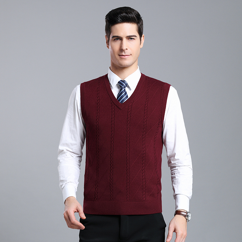 V Neck Sweater Men Autumn Winter Clothes Mens Pullover Sweater Vest Sleeveless Knit Striped Sweater Male Pullover